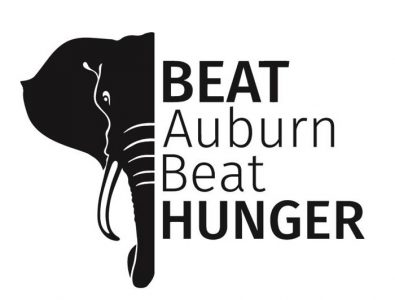 Elephant on left side with Beat Auburn Beat Hunger text on right
